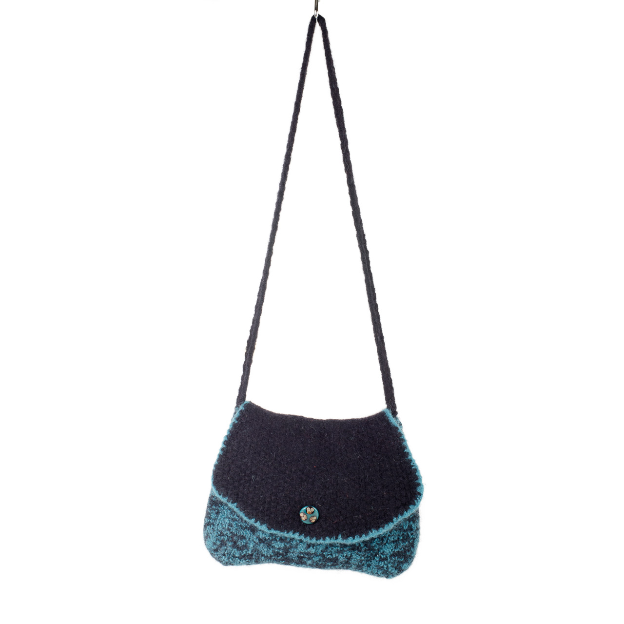 Elegant Black and Teal Felted Shoulder Bag