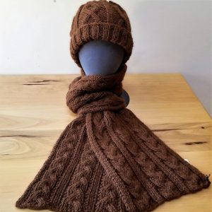 Brown Reversible Cable Alpaca Scarf
