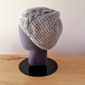 Large Heather Grey Cable Hat