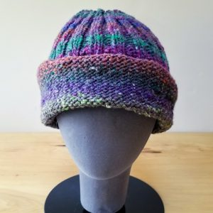 Cranberry-Orange-Teal-Olive Variegated Folded Rim Ribbed Hat