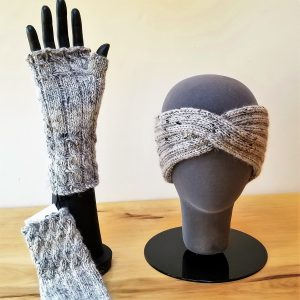 Heather Grey-Cream with Black Flecks Cabled Fingerless Gloves