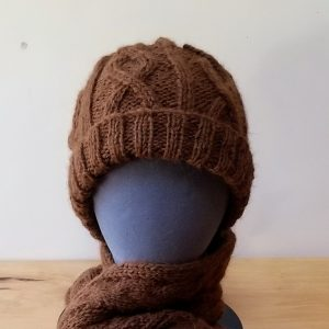 Brown Cabled Alpaca Hat