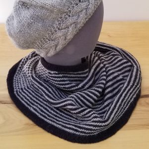 Black and Grey Striped Neck Warmer