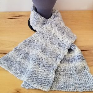Sequined Grey and Cream Reversible Cable Scarf