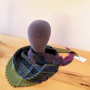 Chartreuse Green and Lavender-Purple-Green-Teal Blue Variegated Lace and Striped Scarf/Shawl