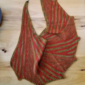 Rust Orange and Green/Orange Variegated Striped and Scalloped Scarf/Shawl