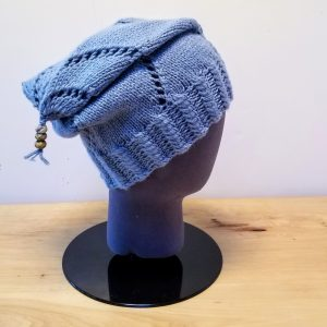 Dusky Blue Swirl Slouch Hat with Beads