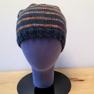 Forest Green and Variegated Rust-Brown-Green Striped Toque