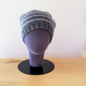 Light Grey-Dark Grey Striped Toque