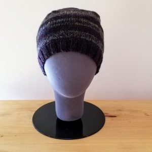 Black and Variegated Green-Blue-Black Striped Toque