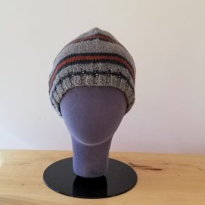 Heather Brown with Green and Rust Stripes Toque