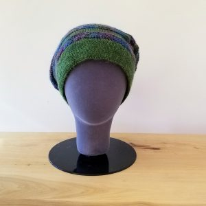 Heather Green and Variegated Purple-Teal Blue-Green Textured Stripe Slouch Hat