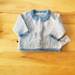 Light  Blue Grey Tweed Infant Cardigan