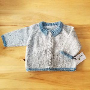 Light  Blue Grey Tweed Infant Cardigan
