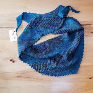 Dark Teal and Lavender-Purple-Olive Green Variegated Lace and Striped Scarf/Shawl
