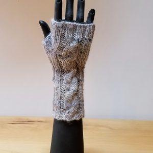 Heather Grey-Cream with Black Flecks Cabled Cuff and Top Fingerless Gloves