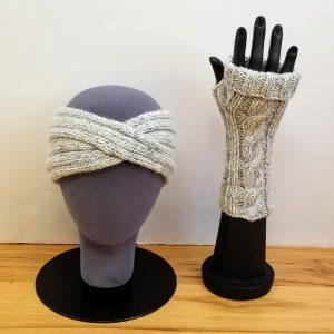 Heather Grey-Cream with Blue Flecks Turban Headband