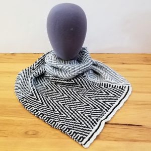 Black-Cream-Light Grey Blue-Steel Grey Blue Zigzag Scarf/Shawl