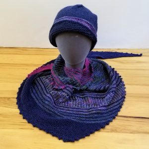 Dark Blue and Jewel Tones Variegated Lace and Striped Scarf/Shawl