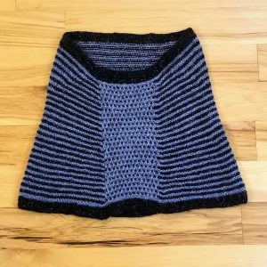 Charcoal Black and Dusky Blue Tweed Striped Neck Warmer