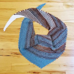 Cream, Brown and Turquoise Tweed Lace and Striped Scarf/Shawl