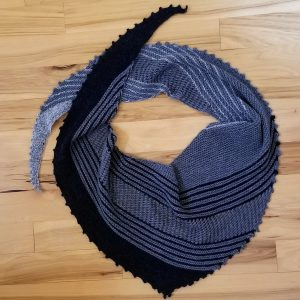 Charcoal Black, Medium Grey and Light Grey Tweed Lace and Striped Scarf/Shawl