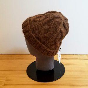 Brown Cabled Alpaca Hat