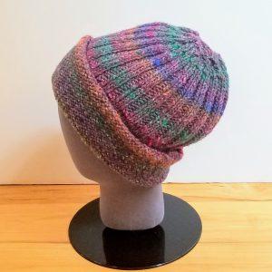 Cranberry-Orange-Teal-Olive Variegated Folded Rim Ribbed Hat