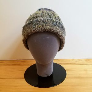 Muted Blue/Brown/Burgundy/Grey Variegated with hints of Chartreuse Yellow Folded Rim Ribbed Hat