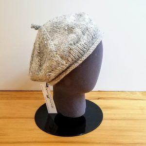 Sequined Grey and Cream Beret