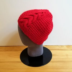 Textured Red Hat with Horseshoe Cable