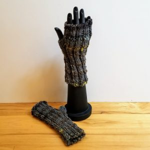 Muted Blue/Brown/Burgundy/Grey Variegated with hints of Chartreuse Yellow Fingerless Gloves