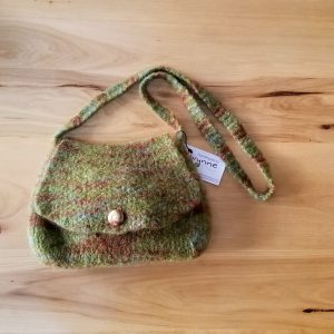 Felted Green and Brown Handbag with Glass Button