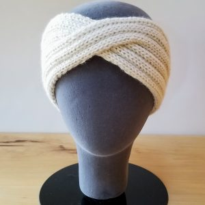 Cream Ribbed Turban Headband