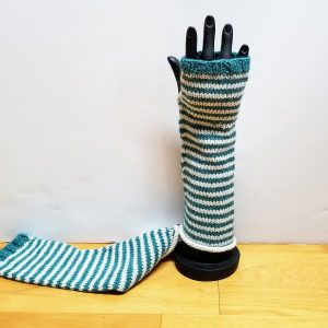 Seafoam Green and White Striped Fingerless Gloves