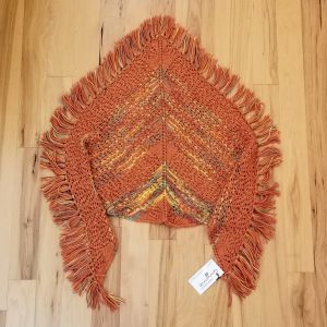 Orange with Variegated Rust Green Yellow Lace Shawl/Scarf