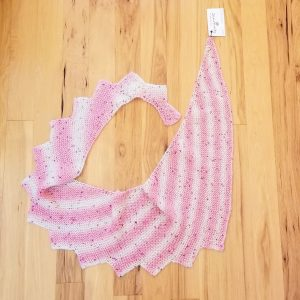 Pink and White Striped with Sequins Shawl/Scarf
