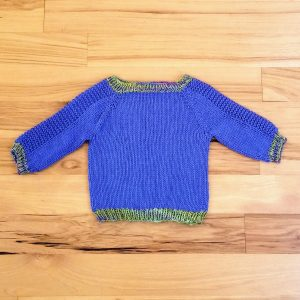 Periwinkle  Infant Sweater with Green Trim