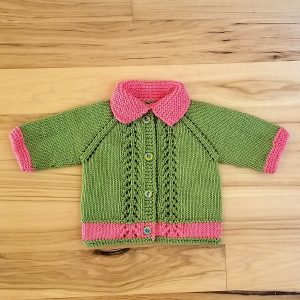 Green with Pink Trim Infant Cardigan