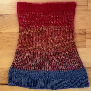 Green and Variegated Red Neck Warmer