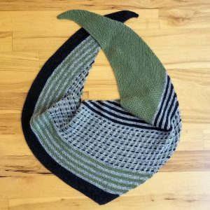 Green, Charcoal and Light Grey Shawl/Scarf