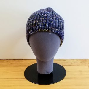 Blue Purple and Olive Variegated Textured Rib Hat