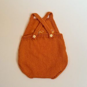 Orange Romper with Crocheted Flowers