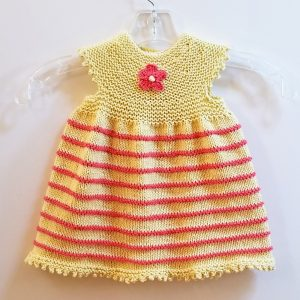Soft Yellow with Tangerine Stripes Infant Dress