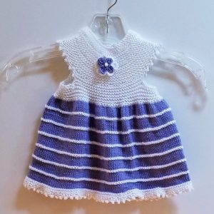 White with Lavender Stripe Infant Dress